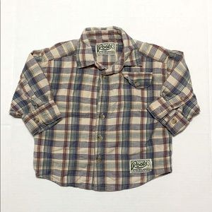 ROOTS Plaid Long Sleeve Button Down Shirt